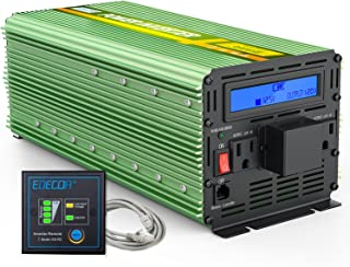 EDECOA 3000W Power Inverter Modified Sine Wave DC 12V to AC 110V Converter with Remote Controller and Hardwire Terminal LCD Display