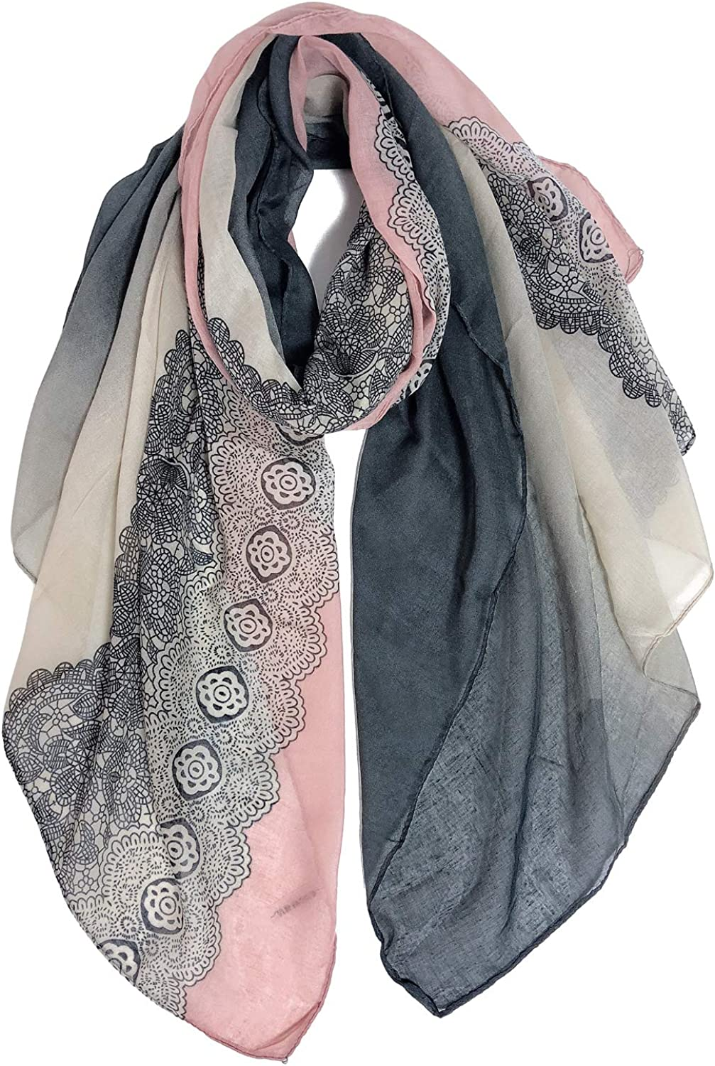 GERINLY All items in the store Stylish Scarves for Women Lightweight Print Time sale Fashion Lace