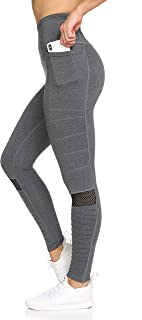 Women's 7/8 Yoga Leggings- with Sheer Mesh Motto and Welt Pockets, 4-Way Wicking Light Grey