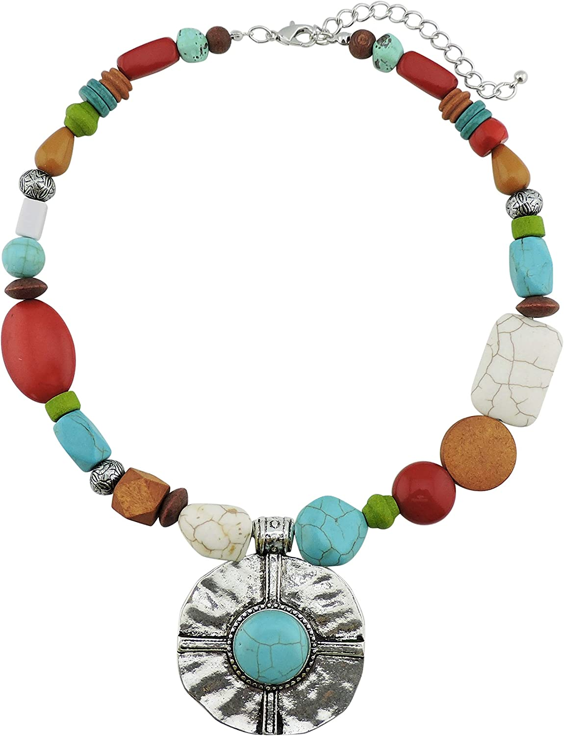 Bocar Statement Turquoise Wood Beads Chunky Collar Necklace Big Alloy Pendant 17
