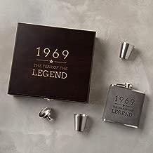 Engraved Grey Hip Flask Set -