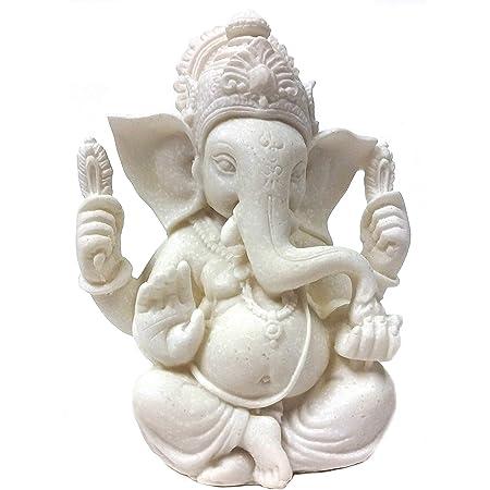 Amazon Com Jfsm Inc Rare Ganesh Lord Of Prosperity Fortune Statue White Finish Home Kitchen