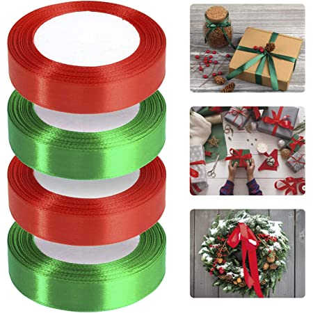 Double Sided Satin Ribbon Rolls for Christmas Wrapping Crafts Party DIY Gift 10 mm, 15 mm, 20 mm and 25 mm 4 Pack Red Ribbon