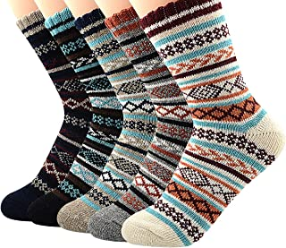 Women's Vintage Winter Soft Wool Warm Comfort Cozy Crew Socks 5 Pack