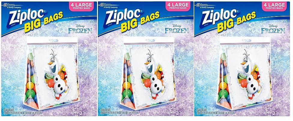 Ziploc Limited Edition Frozen Big Bags, Large, 12 Count