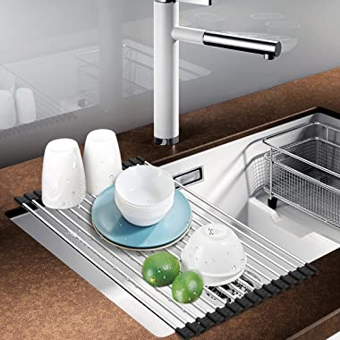 Foldable Roll Up Dish Drying Rack Multipurpose Over The Sink Drainer Rack Kitchen Draining Board (L(35X47CM))