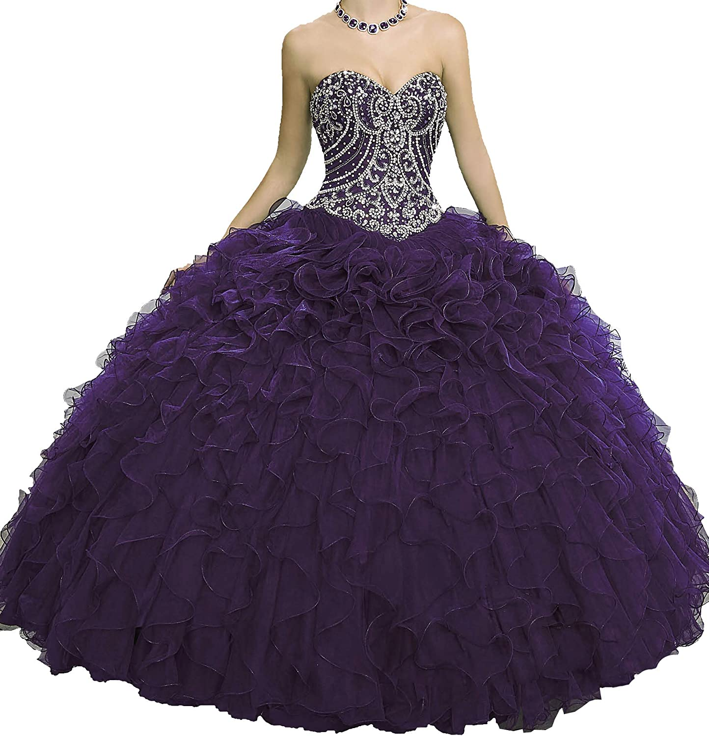 Yang Women Sweetheart Quinceanera Dress Floor Length Girls Ball Gowns