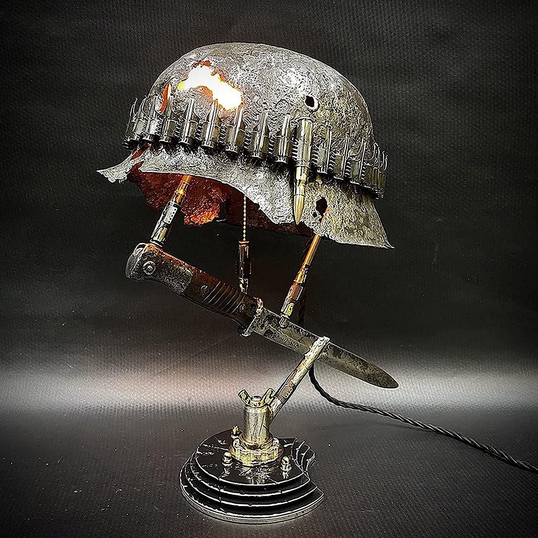 W-HOME Lámpara de reliquia de Guerra, lámpara de Mesa Estatua del Primer Casco de la Segunda Guerra Mundial y Bayoneta del Soldado, Guerra Retro Resina Desk Lamp Regalo de Souvenir,D