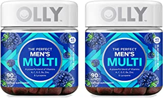 Olly LCVY Perfect Men's Multivitamin Gummy Supplement, with Lycopene & Zinc; BlackBerry Blitz (45 Day Supply), 2 Pack of 90 Count