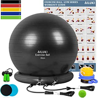 AILUKI Yoga Ball,  Exercise Ball Fitness Balls Stability Ball Anti-Slip & Anti- Burst for Yoga, Pilates,  Birthing,  Balance & Fitness with Workout Guide & Quick Pump