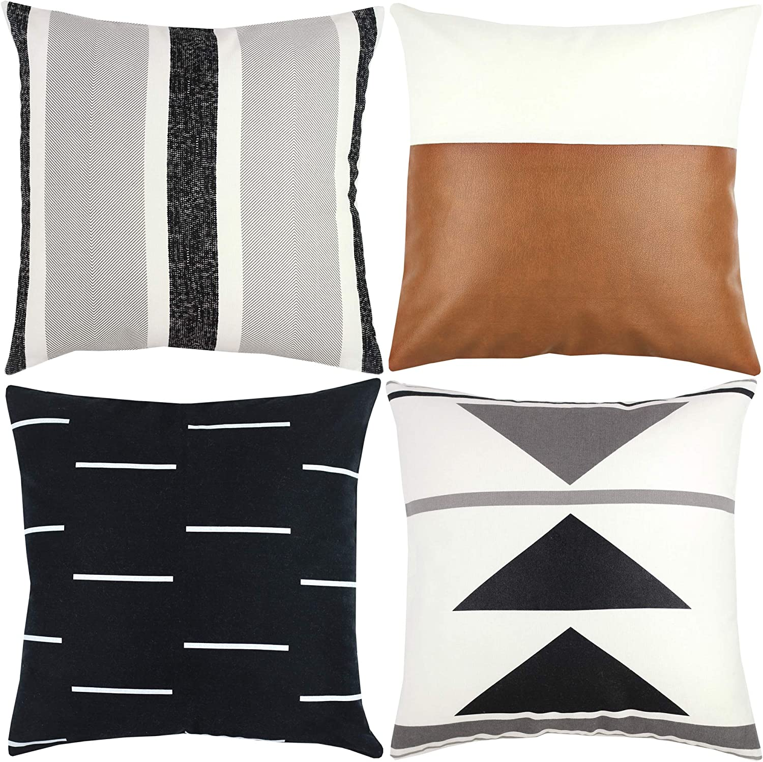 Woven Nook Decorative Throw Pillow Covers ONLY for Couch, Sofa, or Bed Set of 4 18x18 20x20 and 22x22 inch Modern Design 100% Cotton Black White Geometric Faux Leather Zulu Set (22'' x 22'')
