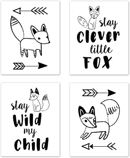 Sweet Jojo Designs Wall Art Prints Room Decor for Baby, Nursery, and Kids for Black and White Fox Collection - Set of 4 - Stay Clever, Stay Wild