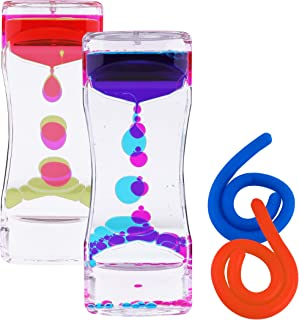 Liquid Motion Bubbler Sensory Toys – 4 Pc Set Bundle Stretchy String Fidget Toys Timer Water Oil Toy for Stress Relief and Anxiety Relief Great for ADHD AutHD Autism ADD Hyperactivity Relaxation figit