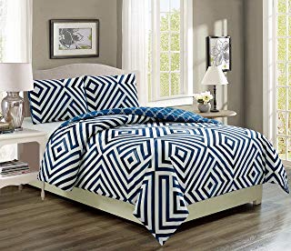 KingLinen Cortez Navy/White Reversible Bed in a Bag Set Queen
