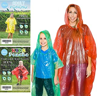 Lingito 20 Pack of Family Rain Ponchos | Disposable Emergency Ponchos | Perfect for..