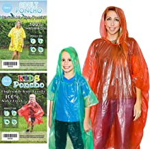 Lingito 20 Pack of Family Rain Ponchos | Disposable Emergency Ponchos | Perfect for Camping, Hiking & Travel