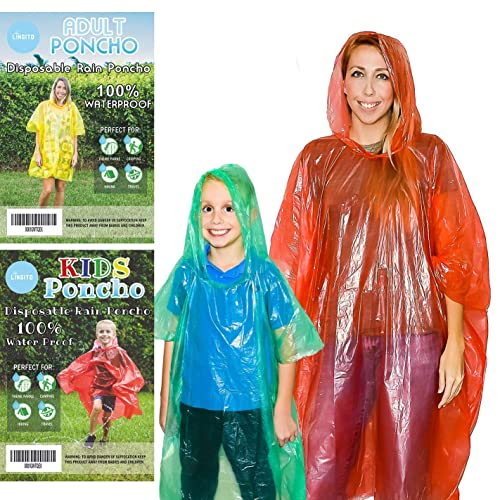 Camping Sports Events and Rainy Tours 20 Pack Sightseeing Emergency Disposable Rain Ponchos,Portable Raincoat,Thicker Rain Poncho for Adults Teens Children Men/&Women Outdoor Activities Hiking