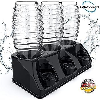 SODACLEAN® Premium 3er Flaschenhalter Kunststoff schwarz Hochglanz   Abtropfhalter für SodaStream Aarke Emil Flaschen mit Deckelhalterung   Abtropfgestell spülmaschinenfest   Crystal Easy Power