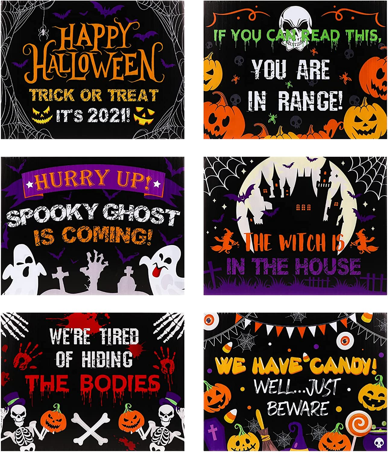 Bargain sale VALICLUD Regular dealer 6pcs 2021 Halloween Yard Sign with Stakes 12pcs Outdoor