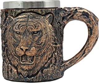 Ebros Animal Totem Spirit Apex Predator Bengal Tiger Mug Textured With Rustic Textured Tree Bark Design In Painted Bronze Finish 12oz Drink Beer Stein Tankard Coffee Cup (Bengal Tiger)