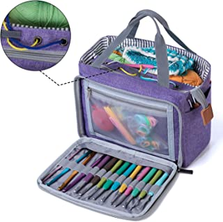 LUXJA Small Crochet Tote Bag, Yarn Storage Bag for Small Unfinished Projects, Crochet Hooks and Other Accessories, Purple