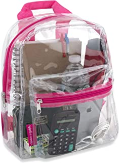 Water Resistant Clear Mini Backpacks for School, Beach - Stadium Approved Bag with Adjustable Straps (Pink)
