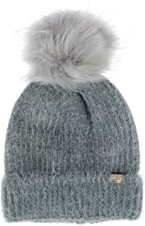 David & Young Women's Sable Touch Knit Beanie Hat with Pom