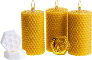 Beeswax Gifts Gold Set. 3 Colored Pillar Beeswax Candles with Honey Scent (Size 3.3 x 1.8 in), Hand-Made Charm and 2 Shea Butter Organic Soaps for Gift and Home Decor.