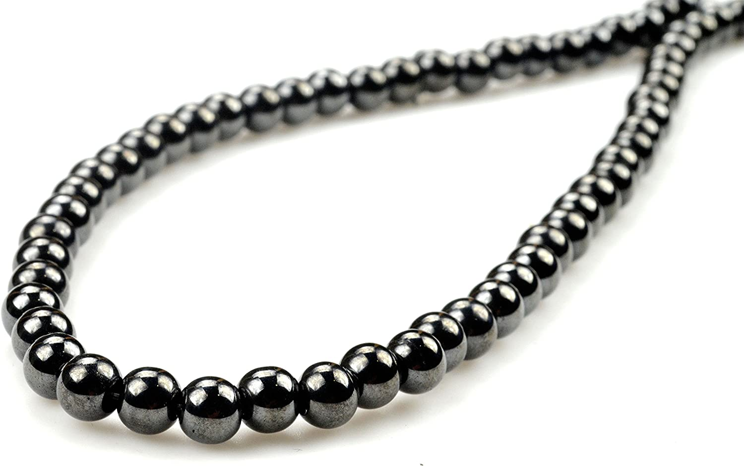 PURPLE WHALE Magnetic Hematite Round Bead Necklace 20
