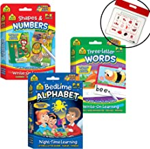 School Zone Set of 3 Preschool Readiness Interactive Flash Cards - Shapes and Numbers, Three-Letter Words, and Bedtime Alphabet, with Calendar Zipper Bag