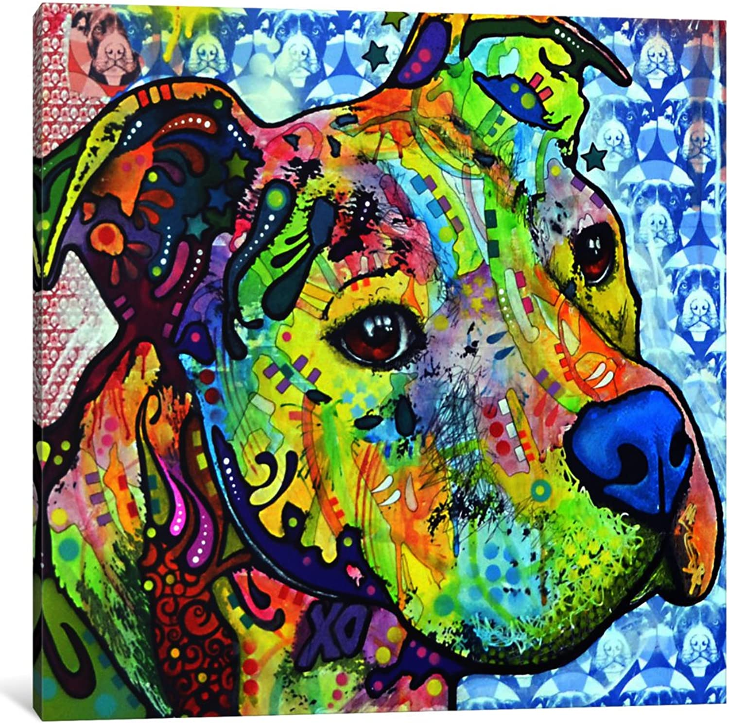 ICanvasART 1-Piece Thoughtful Pit Bull This Years I Canvas Print by Dean Russo, 0.75 by 12 by 12-Inch