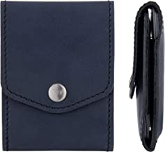 Blue Credit Card Holder - Leather Slim Wallet Case for Business Men & Women - Pocket Id