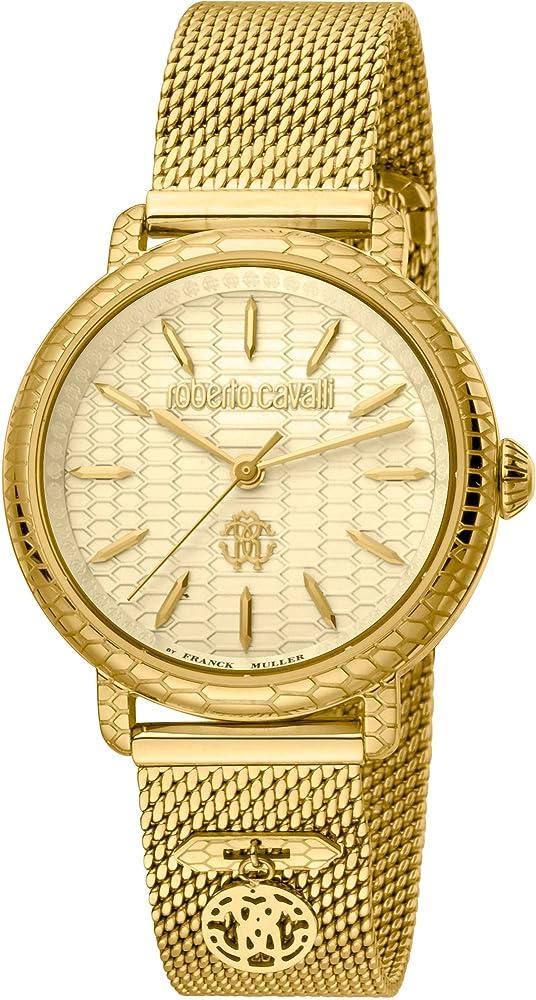 Roberto cavalli by franck muller, orologio elegante per donna,in acciaio inossidabile placcato oro RV1L098M0086
