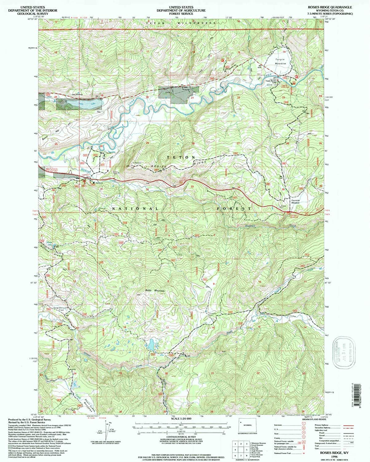 Rosies Ridge WY topo map, 1 24000 Scale, 7.5 X 7.5 Minute, Historical, 1996, Updated 1998, 26.8 x 21.4 in