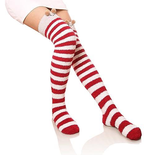 69f8b73ef51 DoSmart Womens Soft Warm Knee High Stockings Animal Stripe Fuzzy Socks