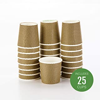 Disposable Paper Hot Cups - 25ct - Hot Beverage Cups, Paper Tea Cup - 4 oz - Mocha Pin Check - No Need For Sleeves - Insulated - Wholesale - Takeout Coffee Cup - Restaurantware