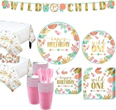 Party City Boho Girl 1st Birthday Party Kit for 32 Guests, Includes 2 Table Covers, Table Centerpieces and Banner Kits