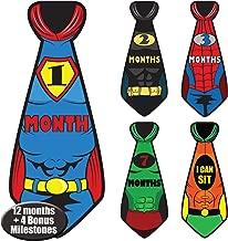 Super Hero Newborn Baby Monthly Milestone Tie Stickers for Boys, Month by Month Photo Props Infant Onesie Sticker Set Belly Decals, Baby Shower & Registry Gifts, Scrapbook Photo Keepsake