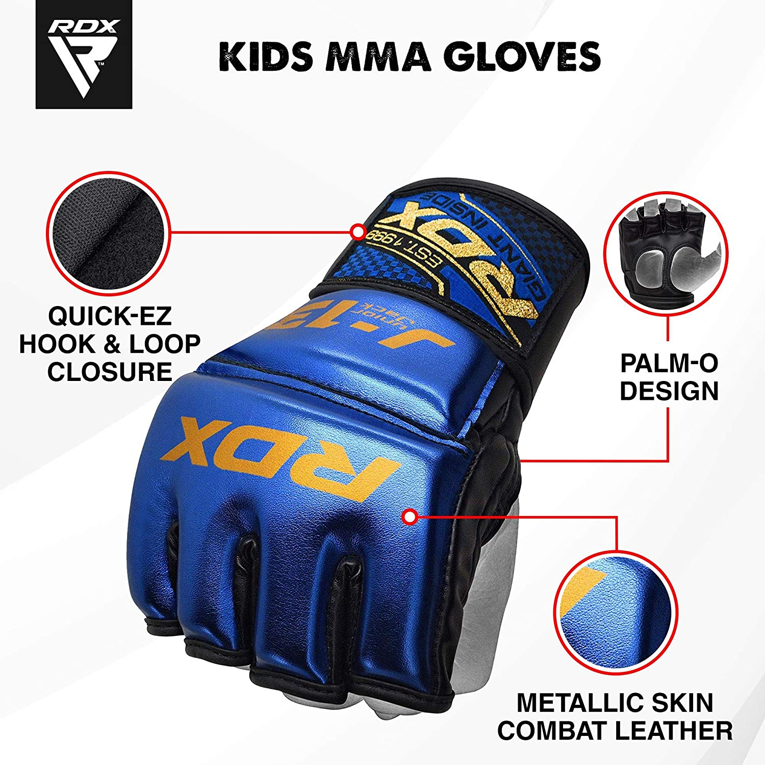 Good for Sparring Punching Bag Kickboxing RDX Kids MMA Gloves for Martial Arts Grappling Training Muay Thai Youth Metallic Skin Combat Leather Mitts Junior Cage Fighting