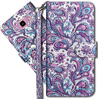 J2 Prime Wallet Case, Galaxy Grand Prime Premium PU Leather Case, COTDINFORCA 3D Creative Painted Effect Design Full-Body Protective Cover for Samsung Galaxy J2 Prime G532. PU- Peacock Flower