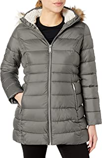 HFX Women's 3/4 Puffer with Faux Fur Hood and Cinched Sides
