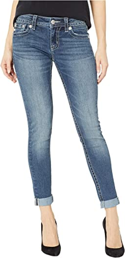 Embellished Cuffed Skinny Jeans in Medium Blue