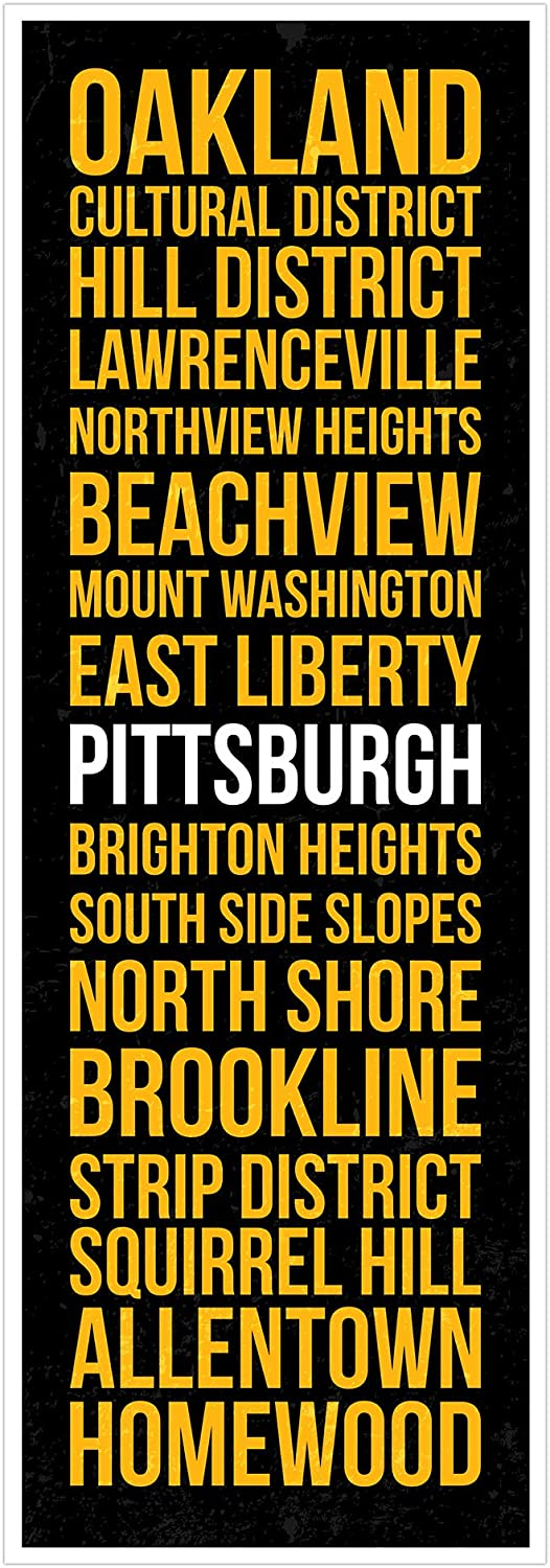 ArtsyCanvas Pittsburgh  Football Neighborhoods  16x48 Matte Poster Print Wall Art