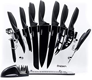 17 Piece Knife Set with Block and Sharpener - by Kitchen Precision. Enhance Your Room Décor with Kitchen Utensil Set w/ Si...
