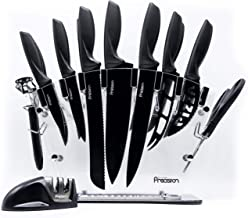 17 Piece Knife Set with Block and Sharpener - by Kitchen Precision. Enhance Your Room Décor with Kitchen Utensil Set w/Six Steak Knives, Chef, Bread, Cheese & Utility Knife Plus Scissors and Peeler
