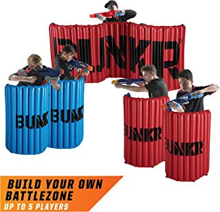 BUNKR Inflatable Battlezone Tournament Set (5 Pieces) Compatible with Nerf, Laser X, X-Shot and BoomCo, Red/Blue