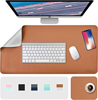 """Desk Pad, Desk Mat, Mouse Mat, XL Desk Pads Dual-Sided Brown/Gray, 31.5"""" x 15.7"""" + 8""""x11"""" PU Leather Mouse Pad 2 Pack Wate..."""