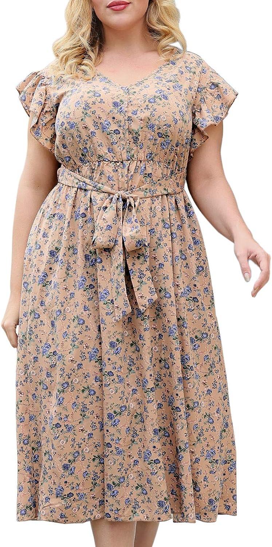 Nemidor Women's Deep V-Neckline Sleeveless Vintage Plus Size Floral Print Summer Casual Maxi Long Dress NEM234
