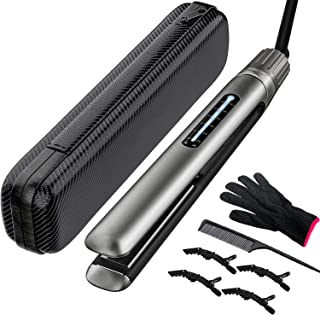 CHGeek Hair Straightener & Curler with Temp 265 to 450℉. Ceramic Tourmaline Nano Titanium Waterproof Flat Iron Plate 15s Heating-up. 100-240V Dual Voltage for Travel. Nice Gift Idea (Grey)