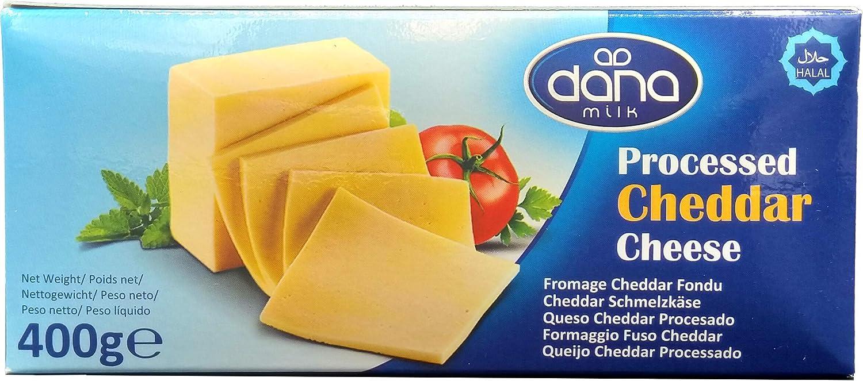 Bloque de queso Cheddar procesado Dana 400 gr | para macarrones, hamburguesas, nachos, salsas (paquete de 1)